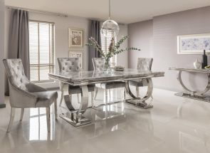 Arianna Table & Belvedere Pewter Chairs
