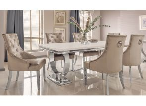 Arianna Cream Table + 6 Belvedere Champagne Chairs