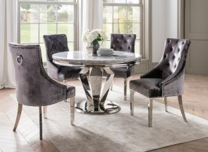 Arturo Round Set With Belvedere Charcoal Chairs