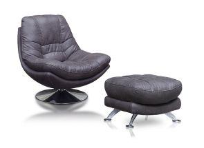 Axis Dark Grey Swivel Armchair-With Footstool