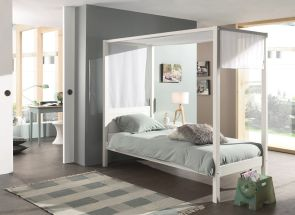 Pino White Canopy Bed With Cover - room