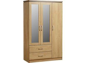 Charles Oak 3 Door Mirrored Robe