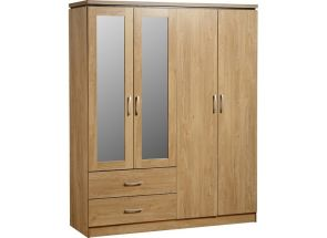 Charles 4 Door Mirrored Oak Robe