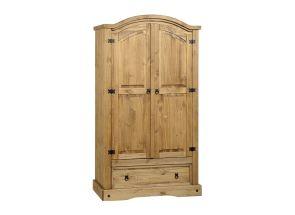 Corona Pine 2 Door 1 Drawer Wardrobe