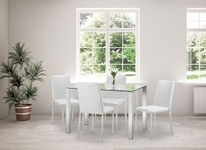 Enzo Table & Jazz White Chair Dining Room