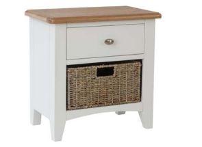 GA White Two Drawer Storage Unit With Basket