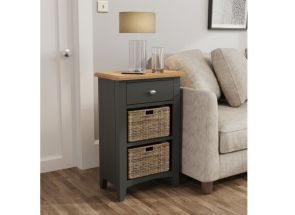 GA Grey Two Basket End Table/Unit - roomset