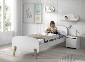 Kiddy White Bed With Rail