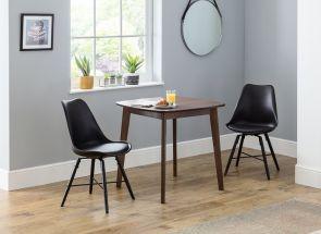 Lennox Walnut Table & Kari Black Chair Set