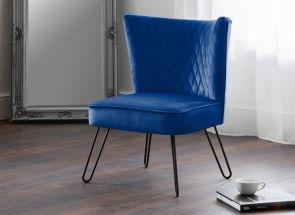 Lisbon Blue Velvet Chair Room