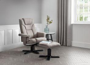 Malmo Grey Linen Recliner & Footstool Room