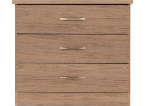 Nevada Rustic Oak Three Drawer Chest - front