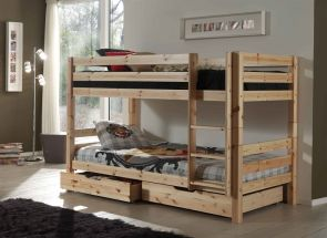 Pino Natural Bunk Bed With Double Drawers