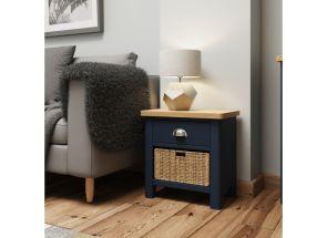 RA Blue One Basket Storage Table - roomset