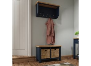 RA Blue Hall Bench W/Baskets and Mirrored Top