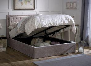 Waterloo Mink Storage Bed - open