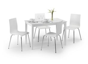 Taku White Dining Table With Mandy White Chairs